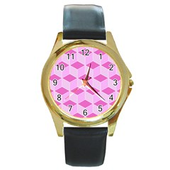 Series In Pink F Round Gold Metal Watch