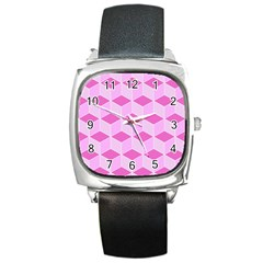 Series In Pink F Square Metal Watch