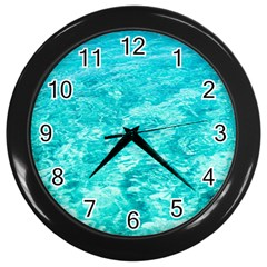 Ocean Blue Waves  Wall Clock (black)