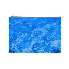 Ocean Blue Waves Abstract Cobalt Cosmetic Bag (large)