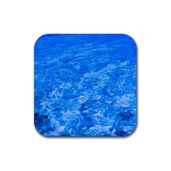Ocean Blue Waves Abstract Cobalt Rubber Coaster (square)