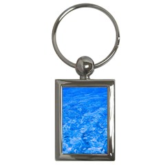 Ocean Blue Waves Abstract Cobalt Key Chains (rectangle)