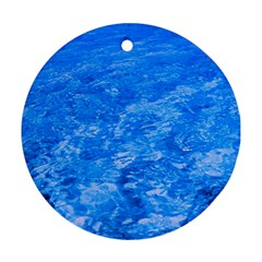 Ocean Blue Waves Abstract Cobalt Round Ornament (two Sides)