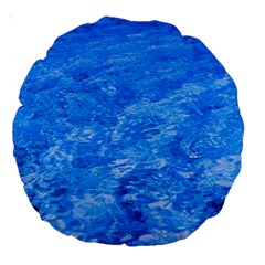 Ocean Blue Waves Abstract Cobalt Large 18  Premium Round Cushions