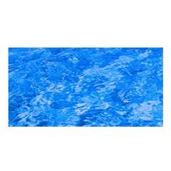 Ocean Blue Waves Abstract Cobalt Satin Shawl