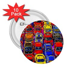 Colorful Toy Racing Cars 2 25  Buttons (10 Pack)  by FunnyCow