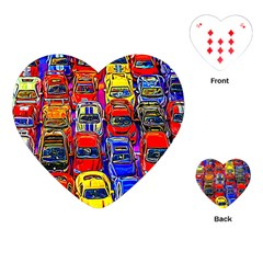 Colorful Toy Racing Cars Playing Cards (heart)  by FunnyCow