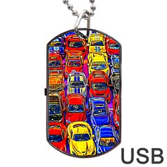 Colorful Toy Racing Cars Dog Tag Usb Flash (one Side)