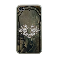 Wonderful Decorative Dragon On Vintage Background Apple Iphone 4 Case (clear) by FantasyWorld7