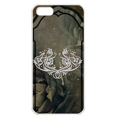 Wonderful Decorative Dragon On Vintage Background Apple Iphone 5 Seamless Case (white)