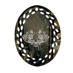 Wonderful Decorative Dragon On Vintage Background Ornament (oval Filigree) by FantasyWorld7
