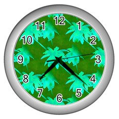 Palm Trees Island Jungle Wall Clock (silver)