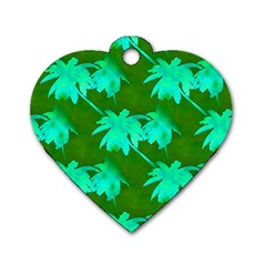 Palm Trees Island Jungle Dog Tag Heart (two Sides)