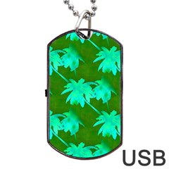 Palm Trees Island Jungle Dog Tag Usb Flash (one Side)