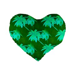 Palm Trees Island Jungle Standard 16  Premium Flano Heart Shape Cushions by CrypticFragmentsColors