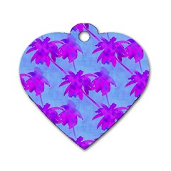 Palm Trees Caribbean Evening Dog Tag Heart (two Sides)