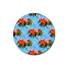 Palm Trees Sunset Glow Rubber Round Coaster (4 Pack)