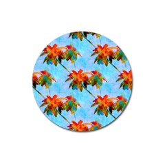 Palm Trees Sunset Glow Magnet 3  (round)