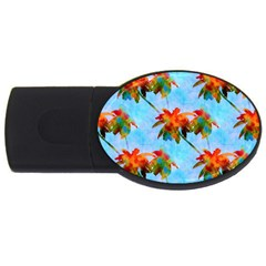 Palm Trees Sunset Glow Usb Flash Drive Oval (2 Gb)