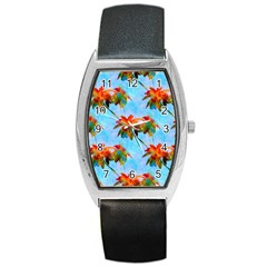 Palm Trees Sunset Glow Barrel Style Metal Watch by CrypticFragmentsColors