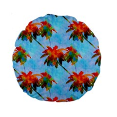 Palm Trees Sunset Glow Standard 15  Premium Round Cushions
