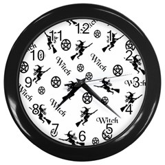 Witches And Pentacles Wall Clock (black)