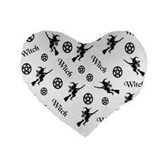 Witches And Pentacles Standard 16  Premium Heart Shape Cushions