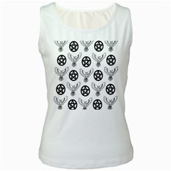 Owls And Pentacles Women s White Tank Top
