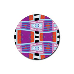 Mirrored Distorted Shapes                                    Rubber Round Coaster (4 Pack) by LalyLauraFLM