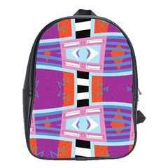 Mirrored Distorted Shapes                                    School Bag (large)