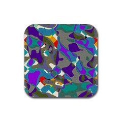 Blue Purple Shapes                                      Rubber Square Coaster (4 Pack