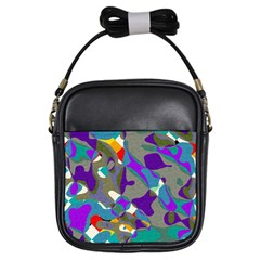 Blue Purple Shapes                                      Girls Sling Bag