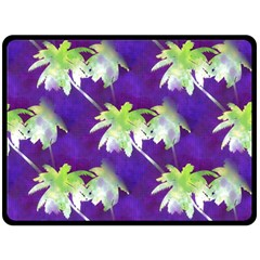 Palm Trees Hot Summer Nights Double Sided Fleece Blanket (large)