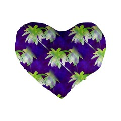 Palm Trees Hot Summer Nights Standard 16  Premium Flano Heart Shape Cushions by CrypticFragmentsColors
