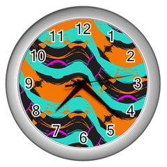 Blue Orange Black Waves                                         Wall Clock (silver)