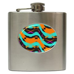 Blue Orange Black Waves                                         Hip Flask (6 Oz)