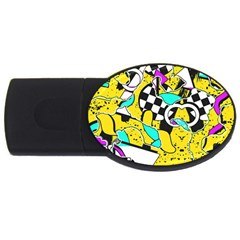 Shapes On A Yellow Background                                         Usb Flash Drive Oval (2 Gb)
