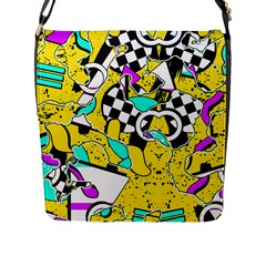 Shapes On A Yellow Background                                         Flap Closure Messenger Bag (l)