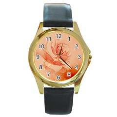 Wonderful Rose In Soft Colors Round Gold Metal Watch by FantasyWorld7