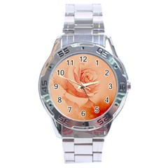 Wonderful Rose In Soft Colors Stainless Steel Analogue Watch