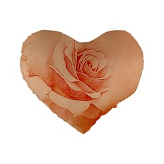 Wonderful Rose In Soft Colors Standard 16  Premium Flano Heart Shape Cushions by FantasyWorld7