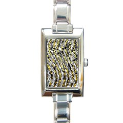 Gold Black And White Waves Created By Flipstylez Designs Rectangle Italian Charm Watch