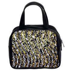 Gold Black And White Waves Created By Flipstylez Designs Classic Handbags (2 Sides)