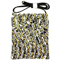 Gold Black And White Waves Created By Flipstylez Designs Shoulder Sling Bags