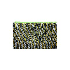 Gold Black And White Waves Created By Flipstylez Designs Cosmetic Bag (xs)