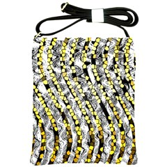 Bright Gold Black And White Waves Created By Flipstylez Designs Shoulder Sling Bags