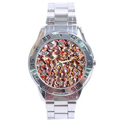 Pink And Gold Black And White Waves Created In Many Layers By Flipstylez Designs Stainless Steel Analogue Watch