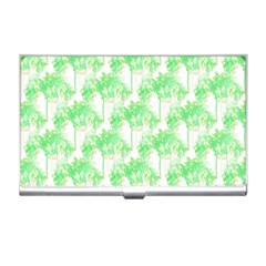 Palm Trees Green Pink Small Print Business Card Holders