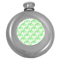 Palm Trees Green Pink Small Print Round Hip Flask (5 Oz)