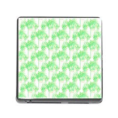 Palm Trees Green Pink Small Print Memory Card Reader (square 5 Slot)